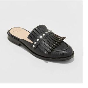 Black, Fringe, Faux Leather Slide